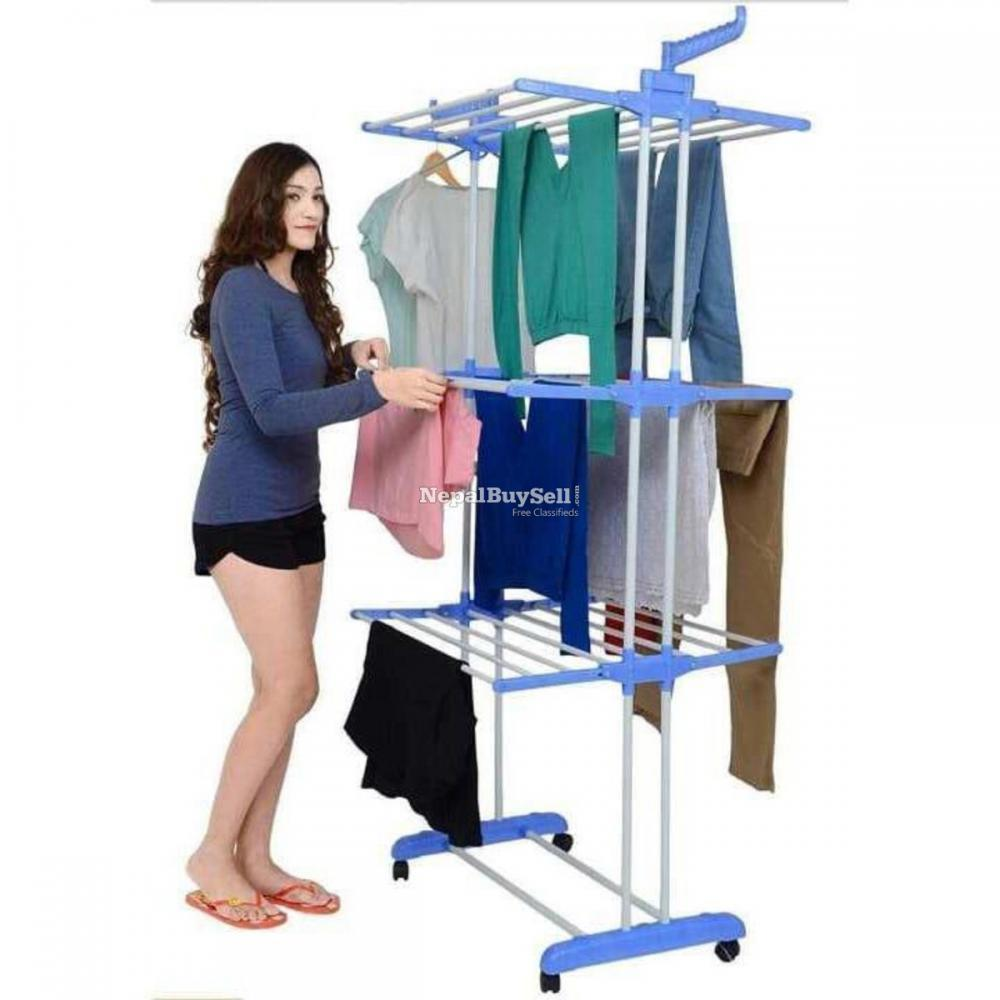 Folding Drying Rack Clothes Rack 3 Tiers Clothes Laundry With Wheels - 1/2