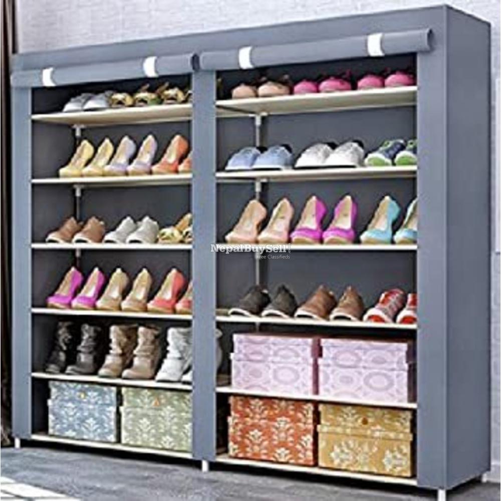 6 Layers Portable And Folding Shoe Rack - Double Door (120 X 30 X 108 - 1/1