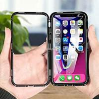 Black Iphone 10 Magnetic Tempered Glass Back Cover