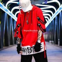 Hip-hop summer boys short-sleeved men's trendy t-shirt loose summer fashion men's clothes