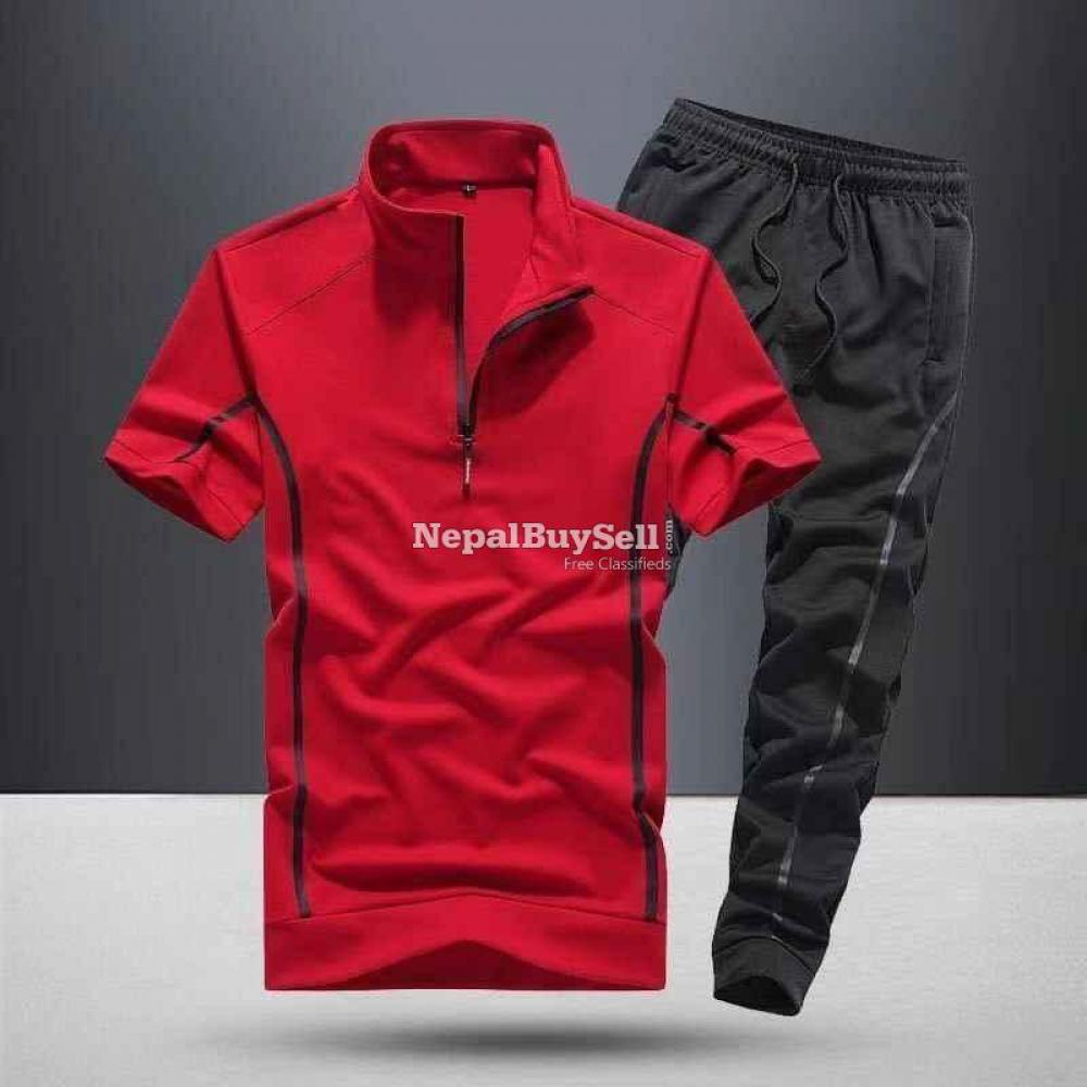 Sports suit men's spring and summer 2021 new fashion stand-up collar short-sleeved casual running - 1/6