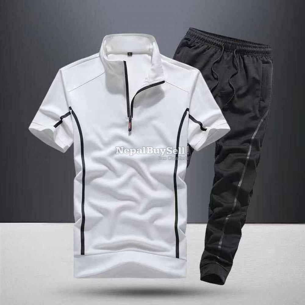 Sports suit men's spring and summer 2021 new fashion stand-up collar short-sleeved casual running - 2/6