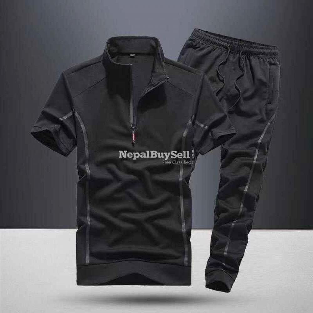 Sports suit men's spring and summer 2021 new fashion stand-up collar short-sleeved casual running - 3/6