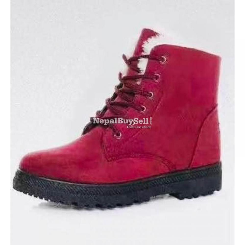 Suede Leather High Top Ankle Boots Winter Shoes - 2/4