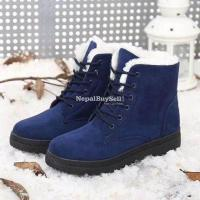 Suede Leather High Top Ankle Boots Winter Shoes - Image 4/4