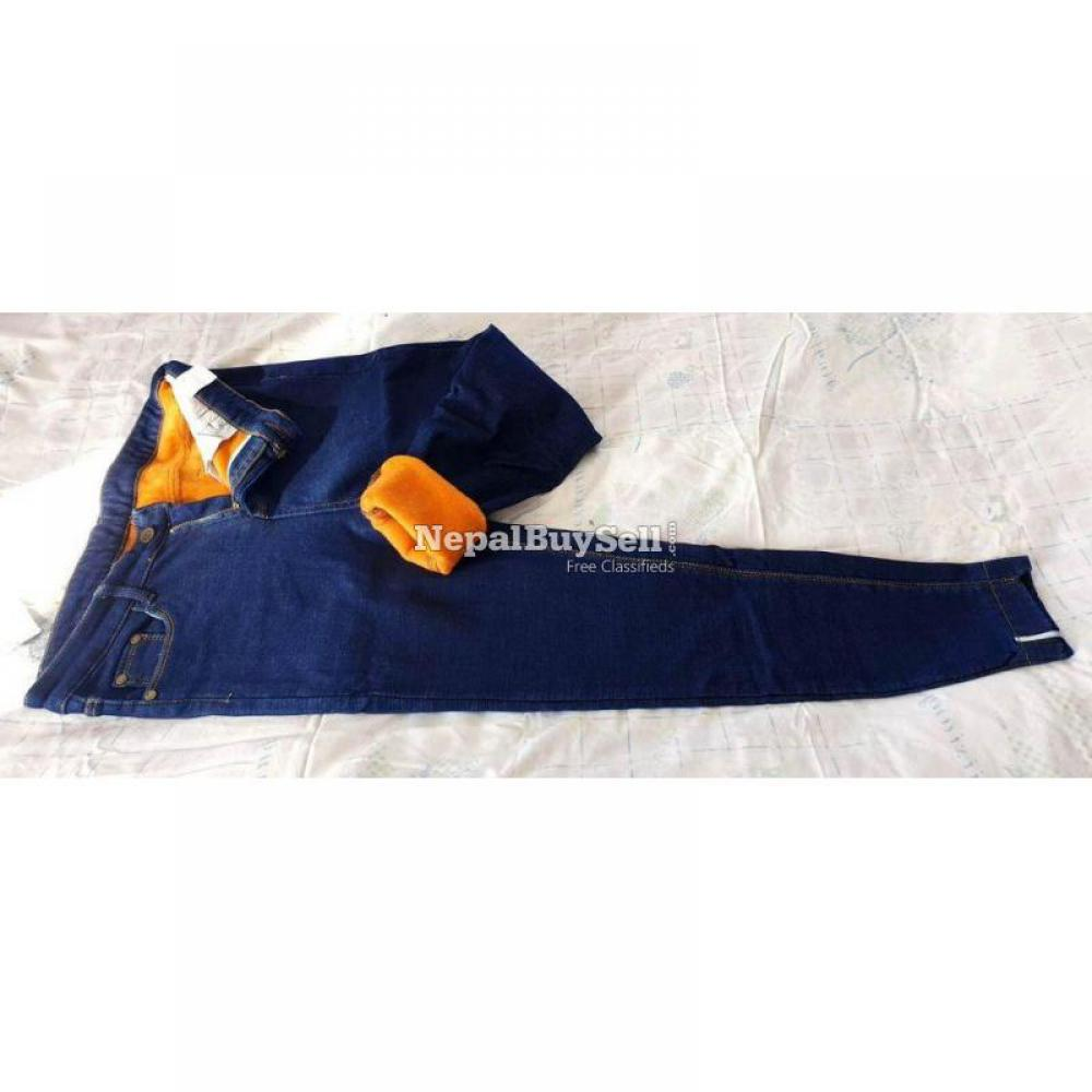 Imported items Ladies Streachable Jeans with inner fur - 1/2
