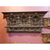 Intricately Handcarved Wooden 3 Faced Decorative Window