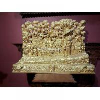 Wooden Carved Lord Gautam Buddha on Lumbini Yatra Handcarved on Wood With Gold Paint