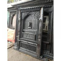 Intricately Handcarved Old Newari Window with Lord Bhairab on Panel
