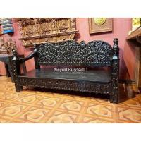 Intricately Carved Tharu Bench