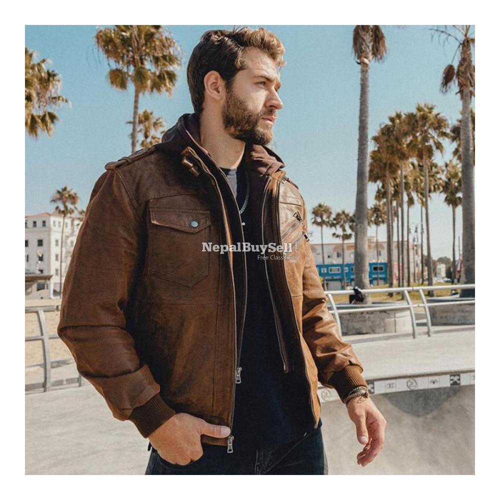 Real Brown Leather Motor Jacket With Removable Hoodie - 1/3