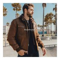 Real Brown Leather Motor Jacket With Removable Hoodie - Image 1/3