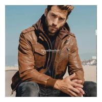 Real Brown Leather Motor Jacket With Removable Hoodie - Image 2/3
