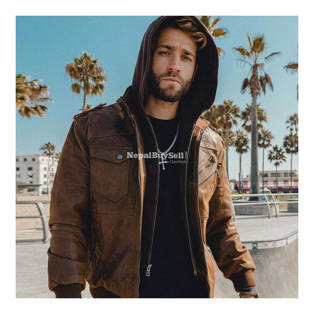 Real Brown Leather Motor Jacket With Removable Hoodie - 3/3